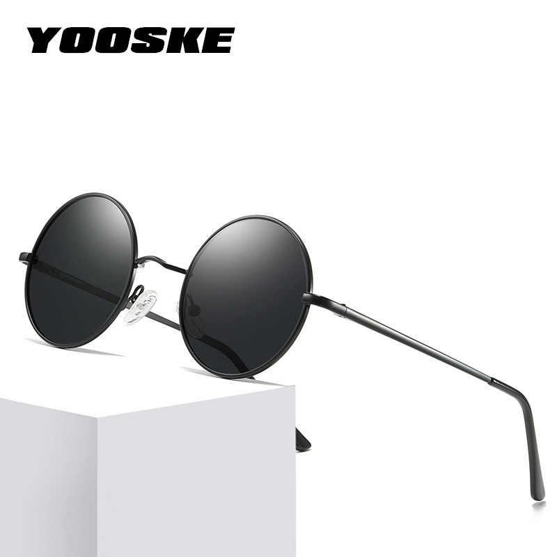 9bb3dc763f YOOSKE Polarized Sunglasses Men Metal Small Round Vintage Sun Glasses Retro John  Lennon Glasses Women Brand