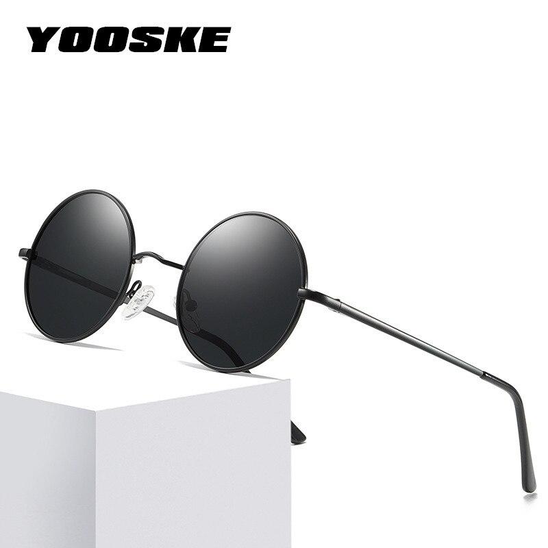 Gafas de sol polarizadas YOOSKE, pequeñas gafas de sol redondas Vintage de Metal para hombre, gafas de sol Retro de John Lennon, gafas para conducir de marca para mujer
