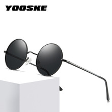 YOOSKE Polarized Sunglasses Men Metal Small Round Vintage Sun Glasses Retro John