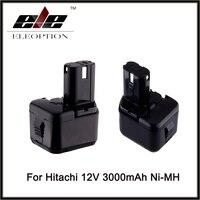 Eleoption 2x Ni MH 3000mAh 3.0Ah 12V Cordless Drill Power Tool Replacement Battery for Hitachi EB1212S EB1214L EB1214S Battery