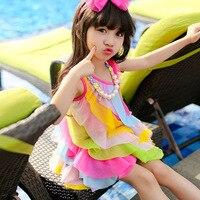 New Summer Dress Bohemian Sleeveless O-neck Kid Princess Dress Beach Rainbow Girl Dress For Children