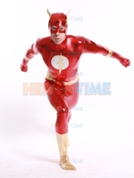 El Flash brillante metálico Superhéroe Traje de halloween cosplay zentai traje kid traje de Flash más populares envío gratis