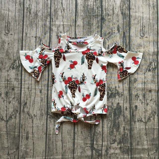 74c97912f summer baby girls children clothes outfits top t-shirt raglans cow red  flower floral milk silk cotton off shoulder ruffles bow