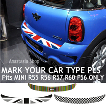 union jack checkered car tail rear trunk sticker for mini cooper coupe clubman R55 countryman R60 F56