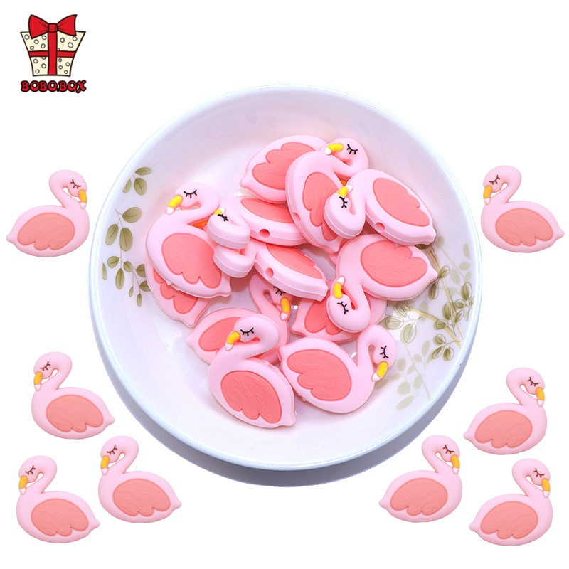 BOBO.BOX 3pc Flamingo Silicone Beads Baby Teething Rings Making Food Grade Silicone Perle Chew Necklace Teething Toy Accessories