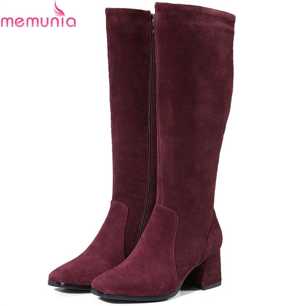 MEMUNIA 2018 mode femmes bottes bout carré zipper vache daim dames bottes en cuir noir vin rouge carré talon genou bottes hautes