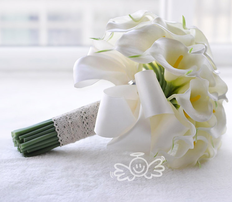 AYiCuthia  Real Touch Yellow Calla Lily Wand For Bridesmaid Flower Girl Keepsake Mini Flower Wand Wedding Bouquet Bridal S28