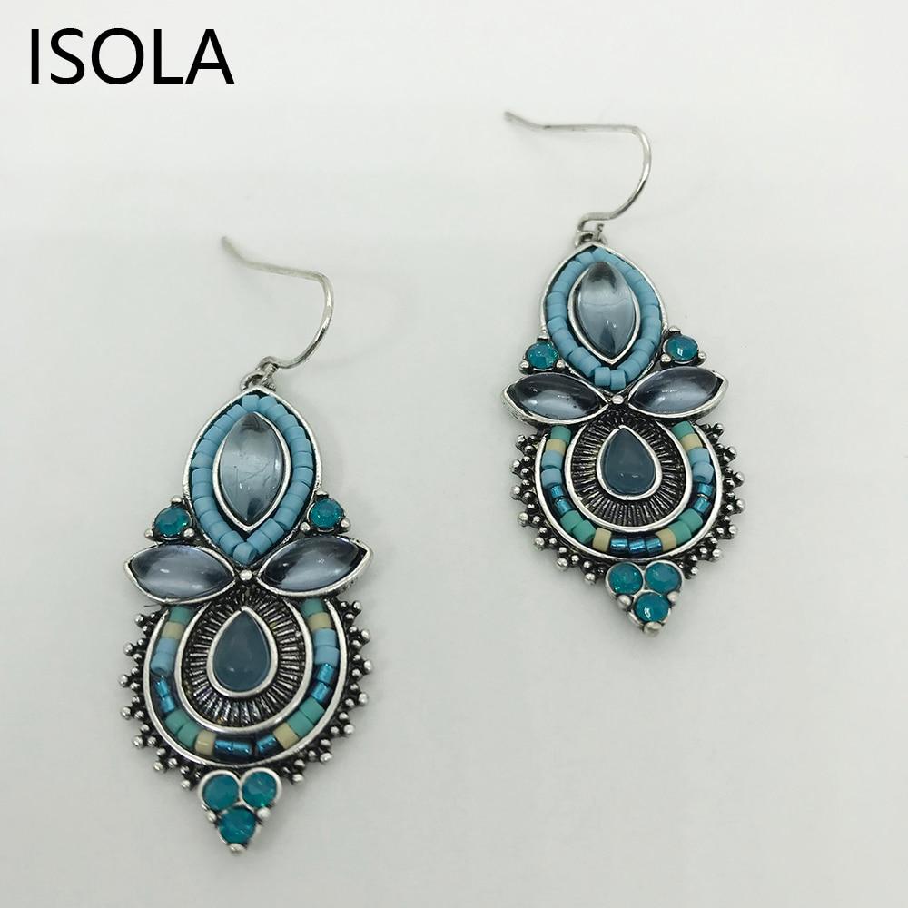 ISOLA Antike Farbe Vintage Perlen Umgeben Strass Gefüllt Aussage Wasser Tropfen Ohrringe Für Frau Ethnische Ohrringe