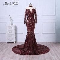 Modabelle Borgonha Elegante Longo Vestido de Noite Com Lantejoulas Alta Neck Luxo Árabe Manga Comprida Prom Vestidos Formais Mulheres