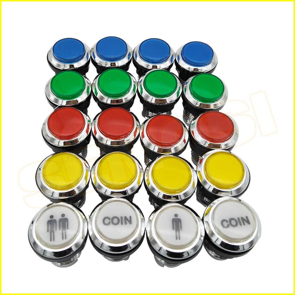 CHROME Mạ illuminated 12 v LED Arcade Push Button với microswitch cho Game Console 1 cái