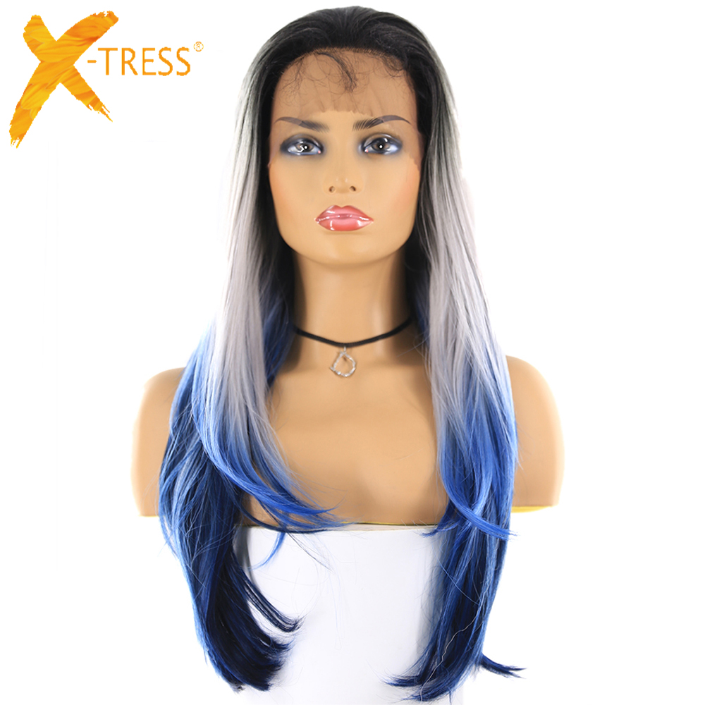 Synthetic Lace Wigs For Women Ombre Blue Platinum Color Long Straight Lace Front Wig With Baby Hair X-TRESS Trendy Cosplay Wigs