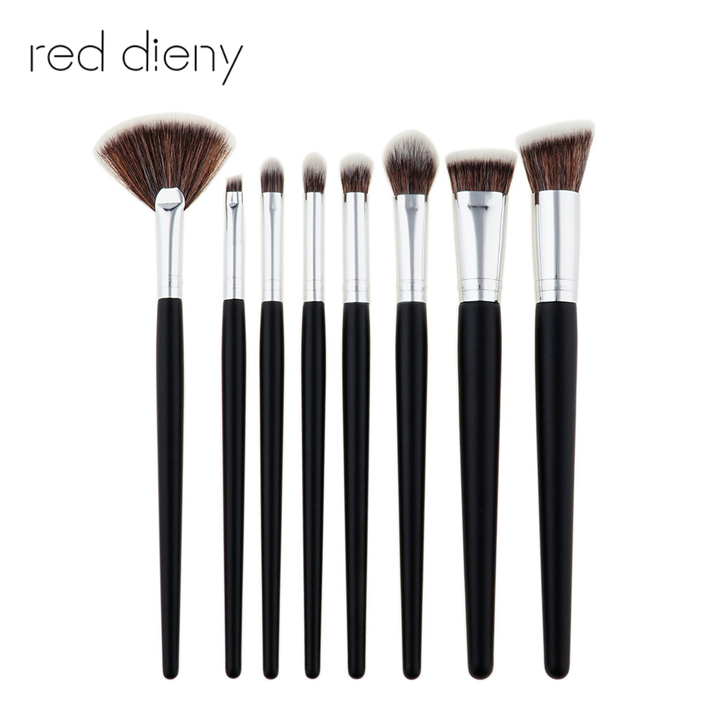 8pcs Natural Bamboo Professional Makeup Brushes Set Eye Brushes Foundation Blending Brush Fan Brush Cosmetic Kits