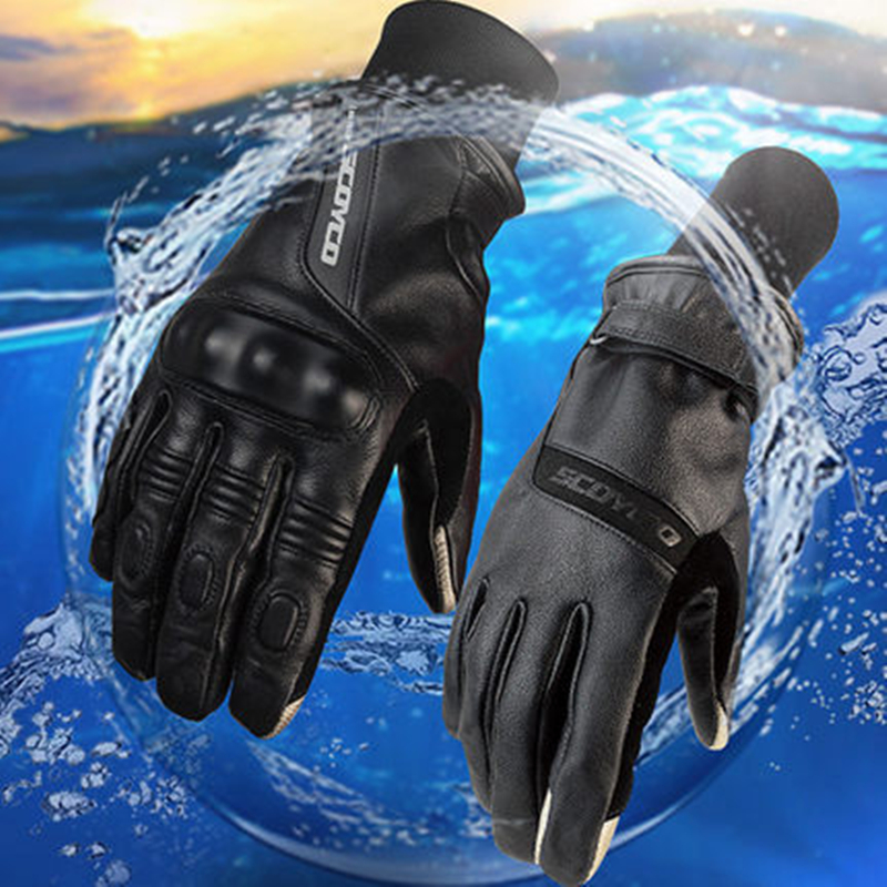 Winter warm SCOYCO MC31W Women Men Leather Motorcycle gloves Windproof Waterproof leather Glove Motorbike Couples Glove 100% waterproof authentic germany nerve kq 019 leather motorcycle gloves cross country knight glove winter warm breathable
