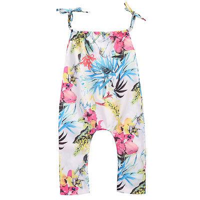 Newborn Infant Baby Girls Floral Romper Summer sleeveless Belt Jumpsuit Clothes Sunsuit Outfit Infant Clothing 0-24M