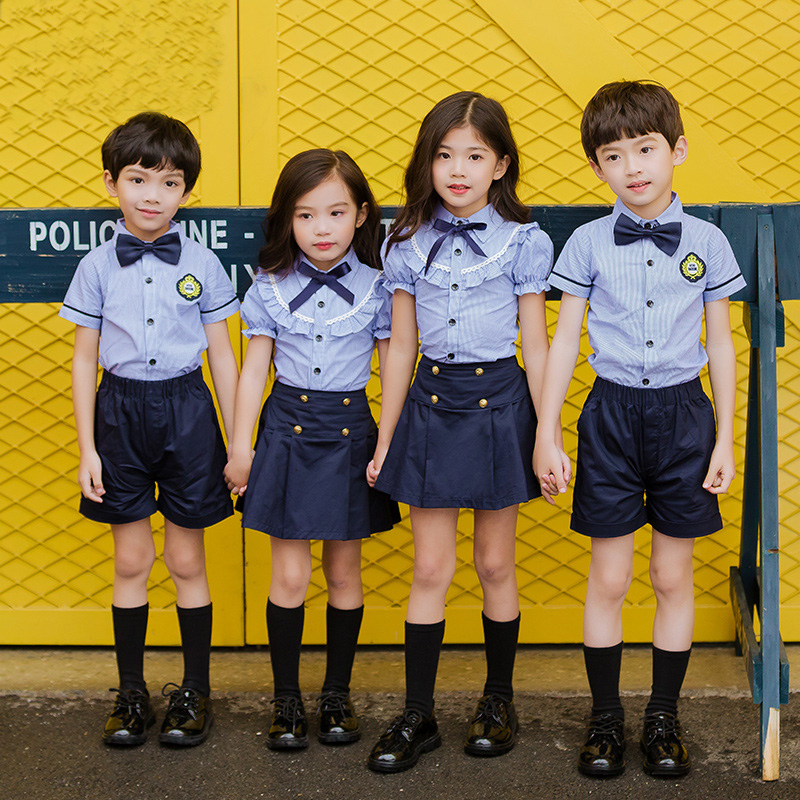 Children Cotton Korean Japanese School Uniform For Girls Boys Blue Shirt Navy Skirt Shorts Set Tie Clothes Student Outfits Suit