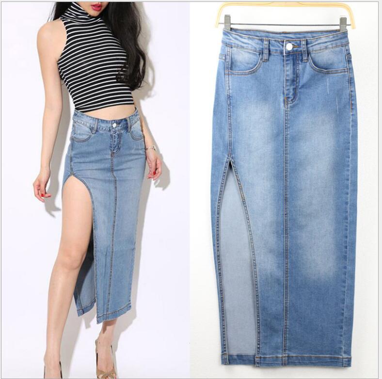 european style sexy high-open split package hip skirt light blue women long denim skirts