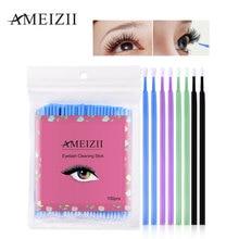 AMEIZII 100Pcs Disposable Eyelash Makeup Brushes Cosmetic Eyelash Extension Tools Individual Lash Removing Makeup Tools Lint