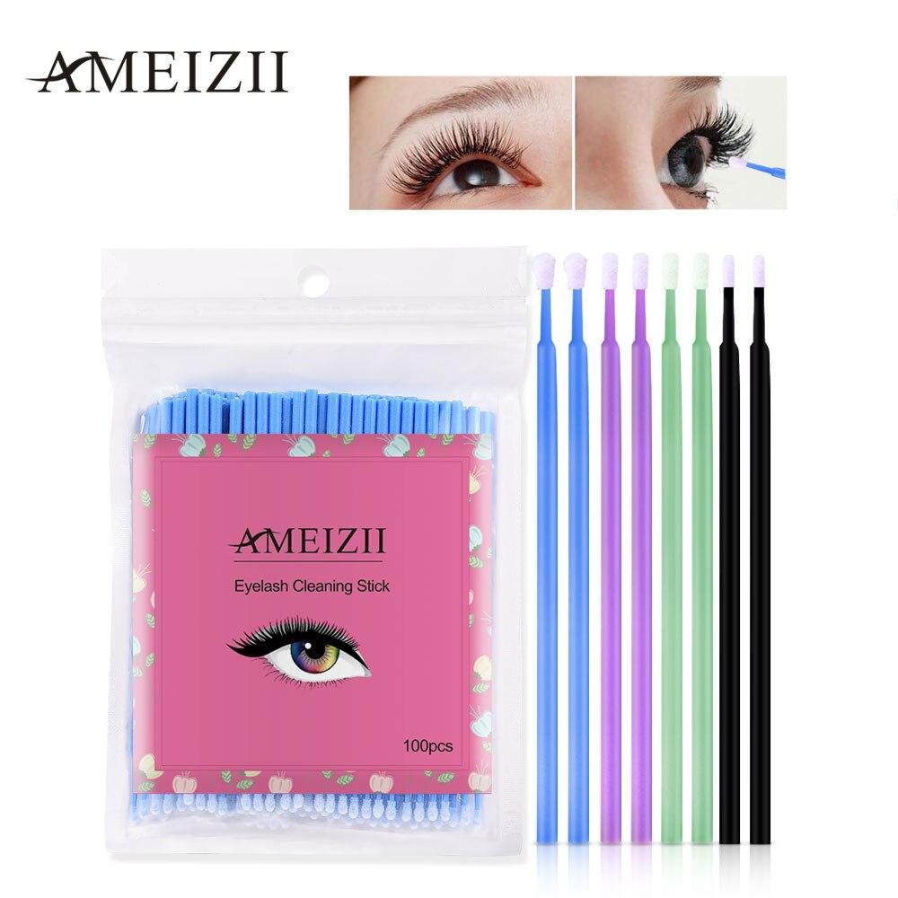 AMEIZII 100Pcs Disposable Eyelash font b Makeup b font Brushes Cosmetic Eyelash Extension Tools Individual Lash