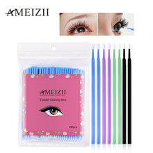 AMEIZII 100Pcs Disposable Eyelash Makeup Brushes  Cosmetic Eyelash Extension Tools Individual Lash Removing Makeup Tools Lint