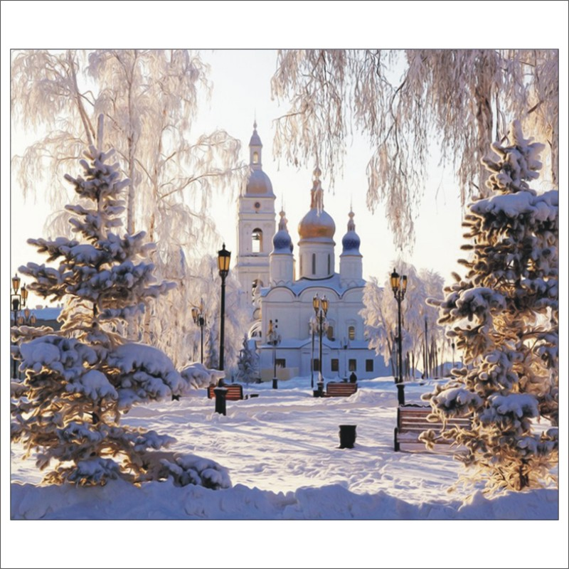 5D DIY Diamond Painting Palace Snow Scene Omni-directional Diamond Embroidery Mural Home Decoration T032