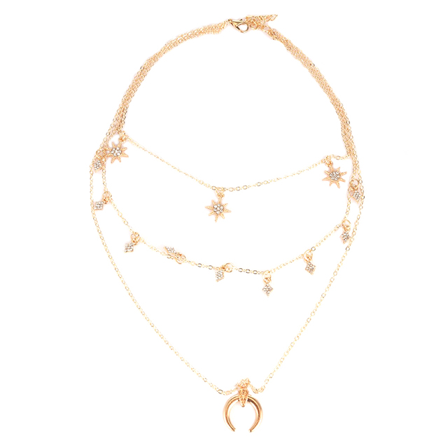 a231827cc5e0 Moda Goden Color Luna Estrellas Multicapa Cadenas Collares y Colgantes Para  Las Mujeres Románticas de Estilo
