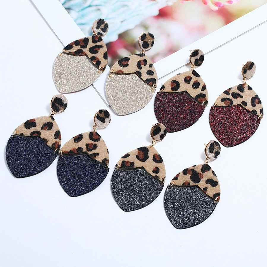 ZWPON 2019 Joint Glitter Leather Leopard Earrings for Women Fashion ZA Designer Oval Earrings Contrast Colors Jewelry Wholesale