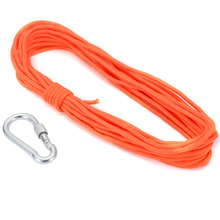 Mayitr 1PC Nylon Rope 10m* 4mm With Hook For Fishing Treasure Hunting Lifting Neodymium Recovery Detector Magnet Orange 1pc 300kg vertical pull force strong neodymium fishing magnet with rope super powerful salvage recovery metal treasure hunting