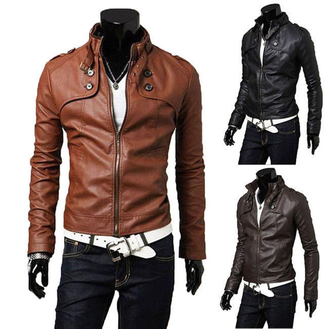 Hot New Men's Stylish Slim Fit Zipper Designed PU Leather Jacket Coat Size M,L,XL XXL 3 colors
