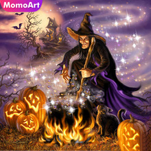MomoArt Diamond Embroidery Pumpkin Night Painting Full Square Rhinestone Mosaic Halloween Home Decoration