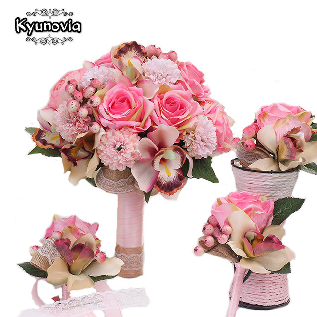 Kyunovia 3pc Set Silk Wedding Bouquet Photograph Bridal Artificial Hydrangea Iris Rose Flowers With Berries FE58 In Bouquets From