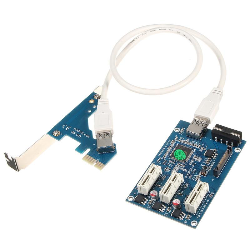 все цены на 1pcs Multiple Port Riser Adapter Card PCI-e 3Port 1X to 3X Slot Adapter PCI-E PCI Expansion Card Adapter USB3.0 Cable Riser Card онлайн