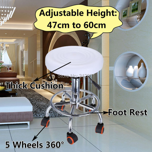 White Hydraulic Rollaway Master Chair Salon Spa Tattoo Bar Beauty Mage Stool