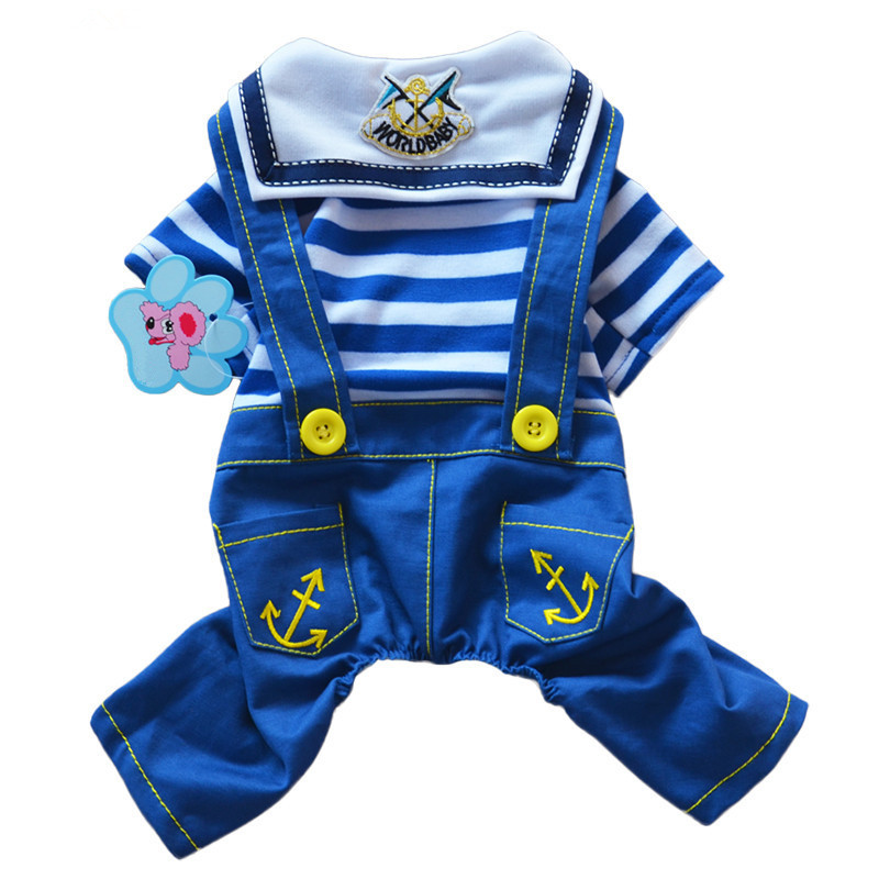 Bajila New Fashion Cotton Dog Rompers Naval Air Striped Pet Dog Demin Jumpsuits Rompers Clothes