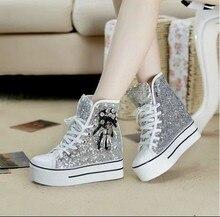 sequins platform shoes women 2016 women's spring and autumn diamond cotton lacing-up casual shoes