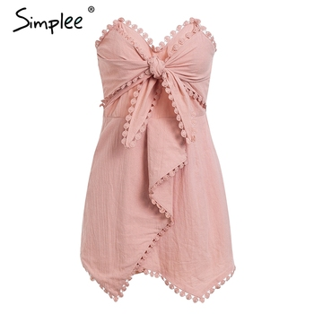 Simplee Sexy off shoulder playsuit women Elegant tassel bow embroidery short jumpsuit Summer cotton linen female overalls romper 8