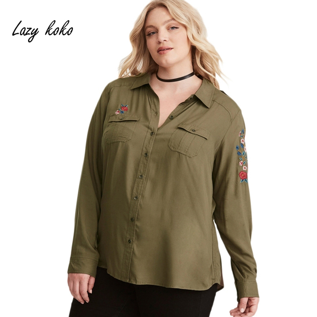 641b09a1ea12de Lazy KoKo Solid Army Green Cargo Flower Embroidery Shirt Women Shirts Long  Sleeve Button Down Blouse Plus Casual Loose Tops
