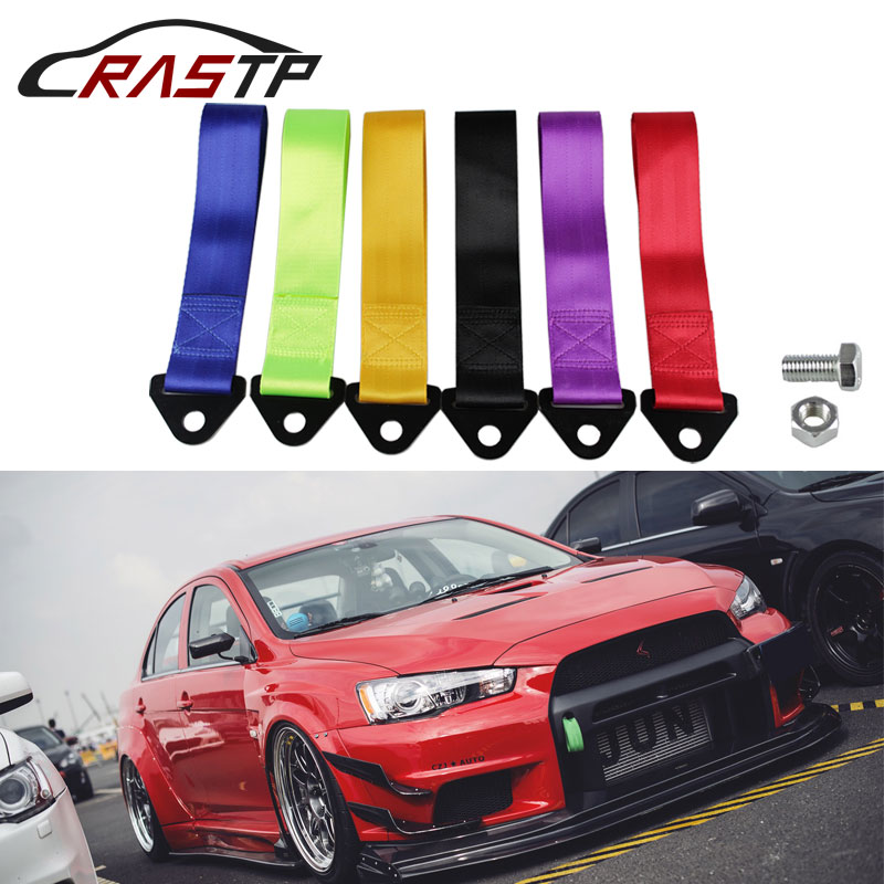 RASTP-Smooth Material Towing Rope Nylon Tow Eye Strap Tow Loop Strap Racing Drift Rally Emergency Tool Front Rear  RS-BAG013A-NM