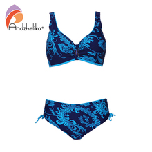 Andzhelika Plus Size Swimwear Print Bikinis Women Large Cup Mid waist Bikinis Small Bottoms Swimwear Beach Bathing Suits Monokin