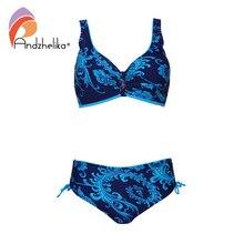 ملابس سباحة مقاس كبير من Andzhelika بكيني مطبوع للسيدات بكيني كبير متوسط الخصر ملابس سباحة صغيرة لباس سباحة للشاطئ Monokin
