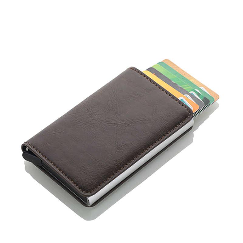 Кредитный держатель для карт для мужчин и женщин искусственная кожа Crazy Horse держатель для Карт RFID алюминиевый бизнес ID карты кошелек мини мужские чехлы для карт