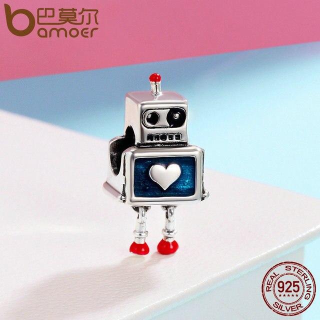 BAMOER Modo Nuovo 100% 925 Sterling Silver Carino Robot Del Cuore di Fascini misura I Braccialetti di Fascino per Le Donne gioielli In Argento Sterling SCC346