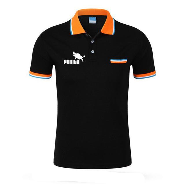 Pocket design Pumba polo shirt men summer short sleeve shirt Boy girl breathable Fashion print funny polo homme