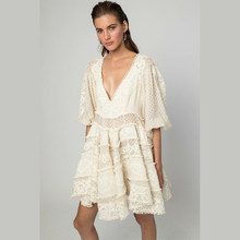 Designer High Quality Elegant Sexy Deep V-neck Lace Embroidery Woman Dress Lantern Sleeve Mini Dress Party Holiday Beach Dresses(China)
