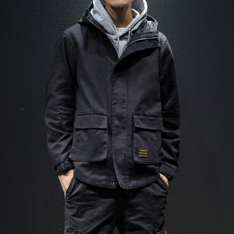 Japan Style Autumn New Loose Jackets Men Plus Size Casual Hooded Windbreaker Jacket Long Sleeve Multi Pockets Men Coats 5XL-M