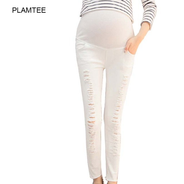 Thin Unique Hole Pants for Maternity Fashion Trousers with Care Belly Solid White Black Pregnancy Clothes Pants Premama M-2XL