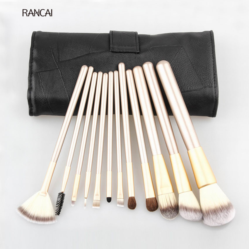 RANCAI Professional 12pcs Makeup Brushes Set Foundation Powder Blush Eyeshadow Brush Soft Hair Cosmetic Make Up Tools with Bag professional 24pcs set champagne makeup brushes powder foundation blush brush high quality cosmetic make up tools kits with bag