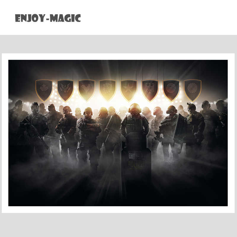 PC Games Weapon Art Fabric Poster Prints Weapon Art Silk Poster Prints  Canvas No Frame Oil Painting Home Decor Rainbow Six Siege