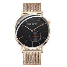 MNONSEPTEN Men's Thin Quartz Wristwatches Full Steel Top Luxury Brand Japan Rose Gold Quartz Watch Classic Relojes Hombre M1910