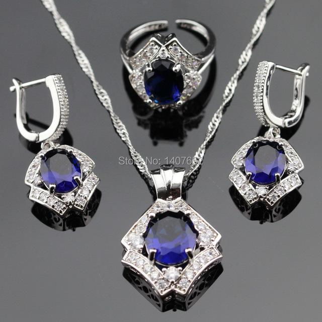 Azul Criado Sapphire Branco CZ Conjuntos de Jóias de Cor Prata Para As Mulheres Abertas Anéis Brincos Colar de Pingente de Caixa de Presente