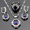 Blue Created Sapphire White CZ Silver Color Jewelry Sets For Women Open Rings Pendant Necklace Earrings Gift Box
